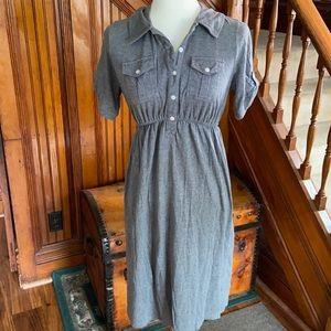 Grey button down elastic waist maternity dress.